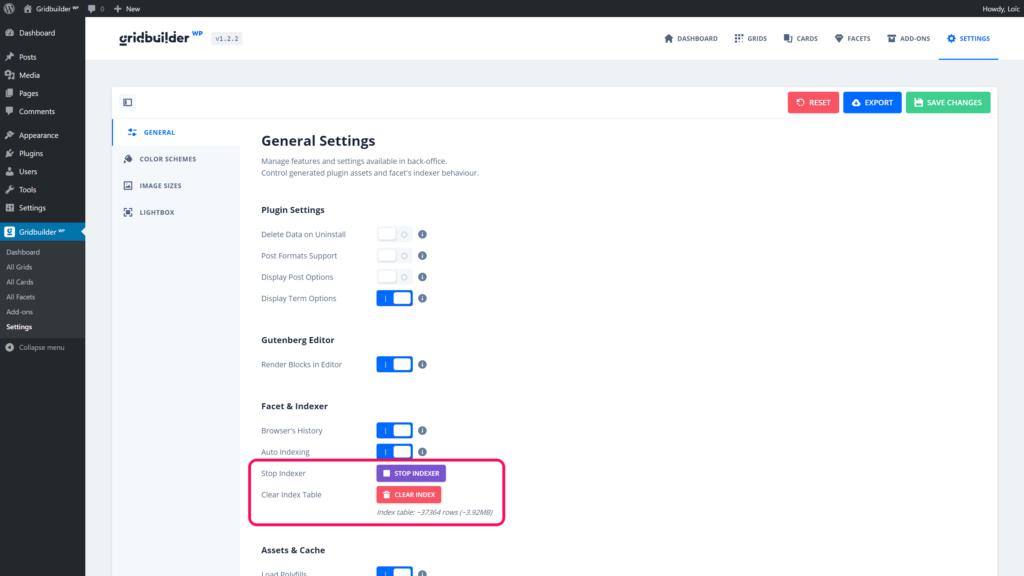 Global settings - Indexer