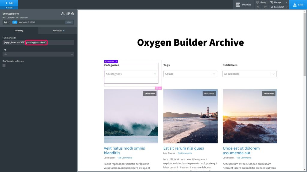 Oxygen Builder - Easy Posts Archive