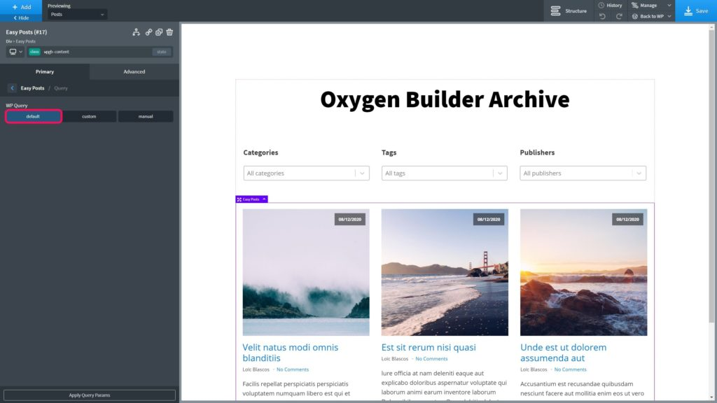 Oxygen Builder - Archive Query