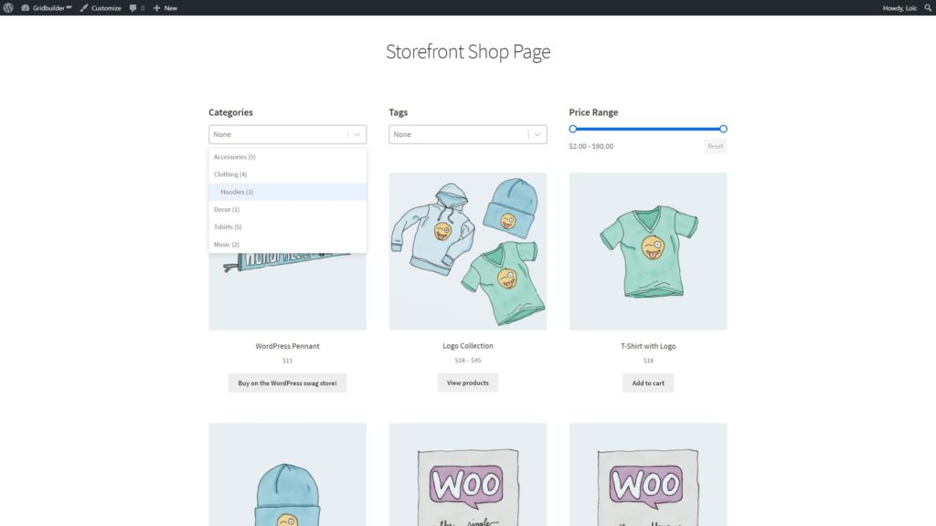 Storefront - Shop Page